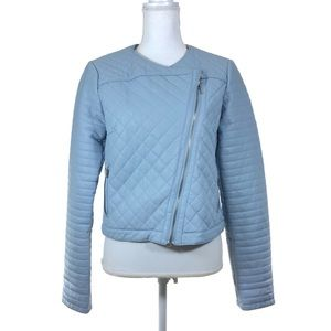 INC Light Blue Moro Faux Leather Jacket Quilted